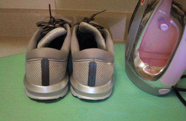 Step 3:  Repeat on other shoe. After the strips cooled for a minute, remove the clear layer from them. Time to shine!