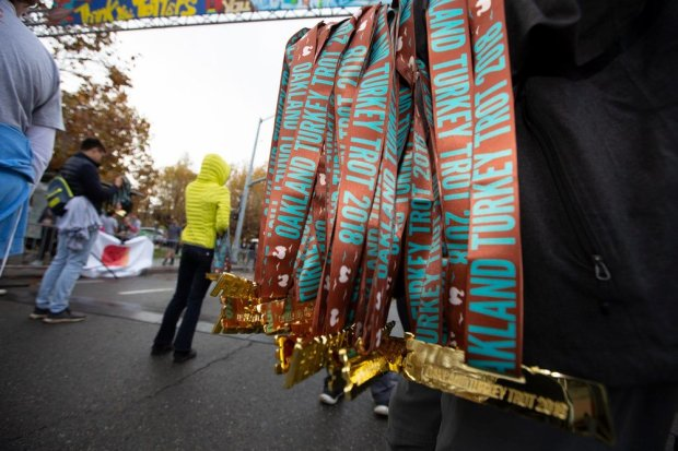 #FeastMode Medals at the finish line.