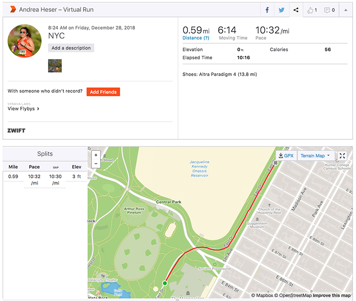 Cool to run virtually & you see a real map on Strava!