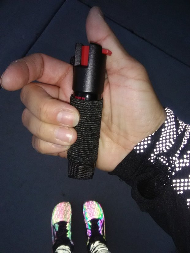 Hand held protection by Sabre. The Runner Pepper Gel w/ adjustable hand strap.