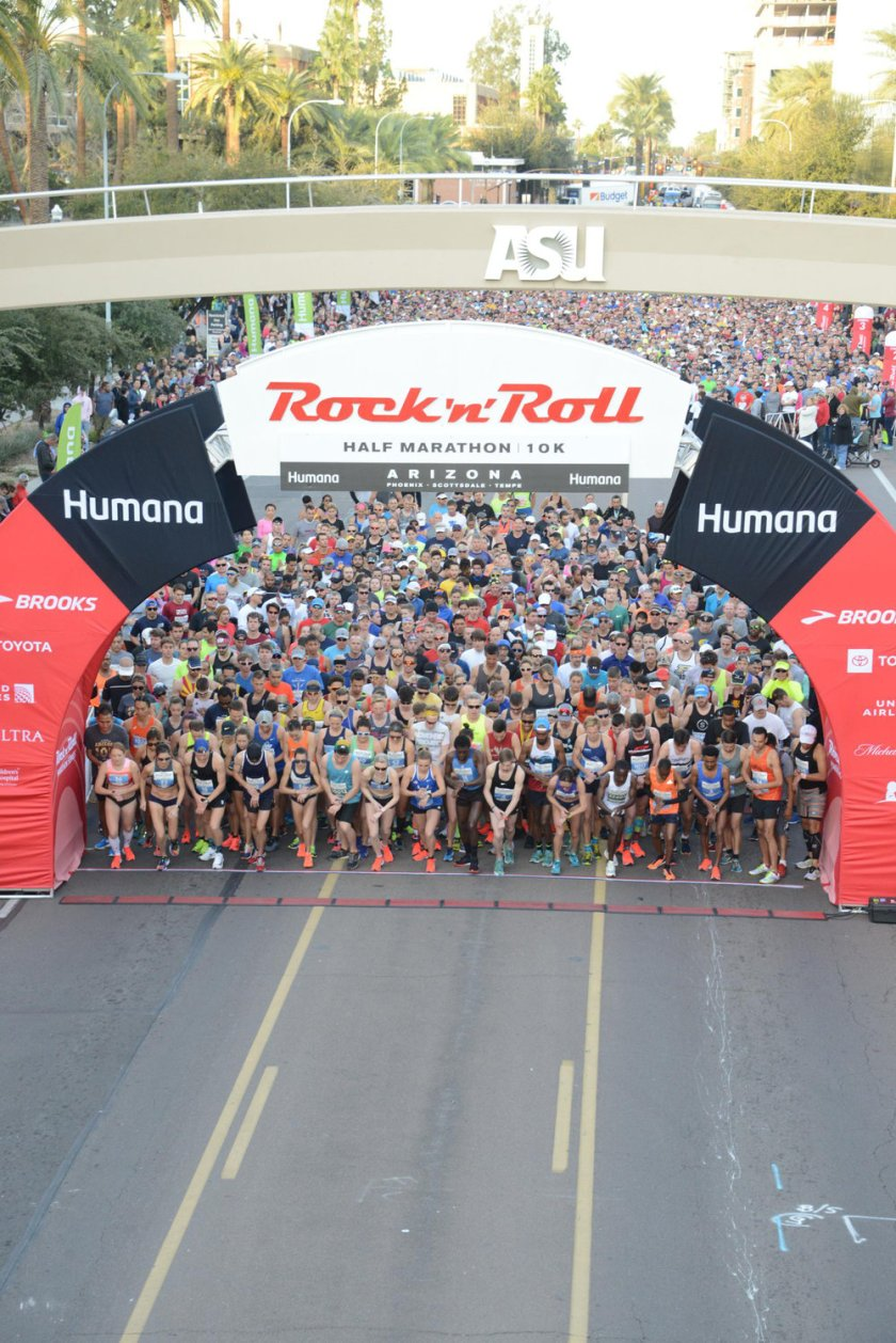 Tons of energy at the 10k and half marathon start line of the 2019 Rock 'n' Roll Arizona.