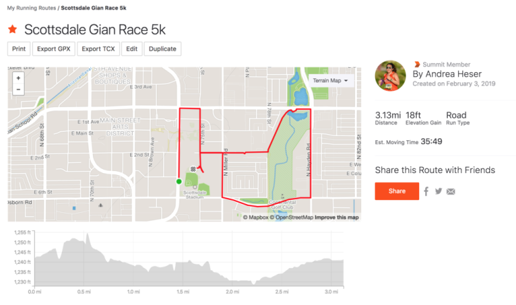 The route of the Scottsdale Giant Race 5k I mapped out on Strava.