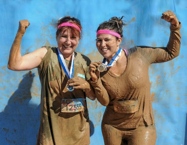 Cool-Mom alert.. It was my her idea! My Mom asked me if I'd do a 5k Mud Run Obstacle Course Race with her and you bet I said yes. This was at the finish line in 2015. She was 54-years-young at the time and I'm 35.