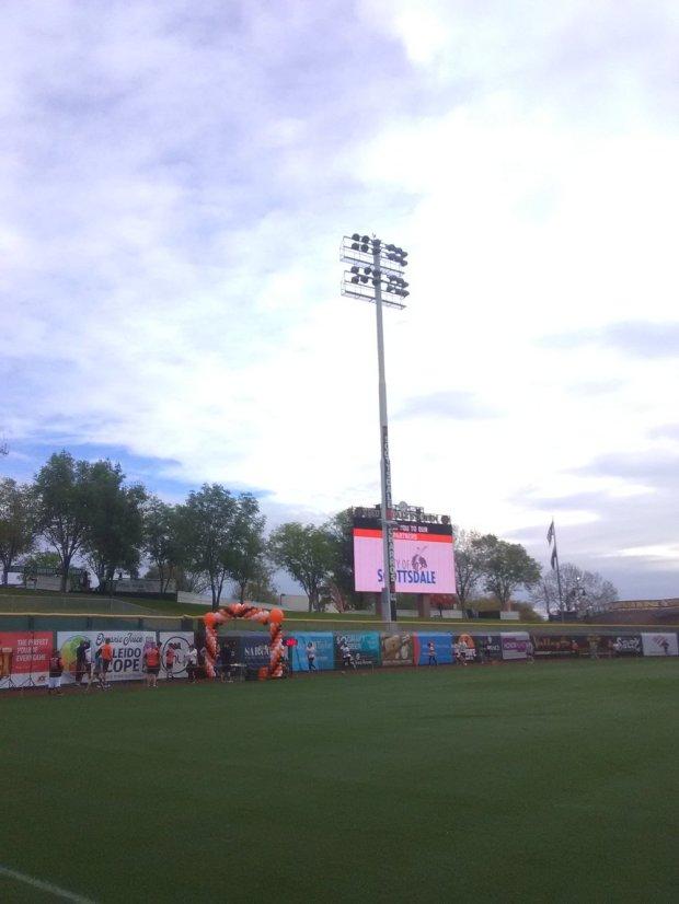 Finish line crossing on the Scottsdale Stadium field!