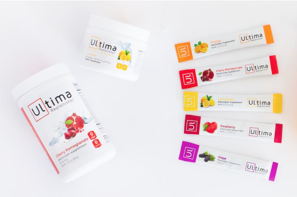 Ultima Replenisher comes in a variety of flavors including: Cherry Pomegranate, Grape, Lemonade, Orange, Raspberry, Pink Lemonade and Toddler Berry Punch.
